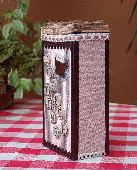 Altered coffee box - side view