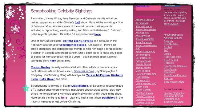 """Mencionada en la revista de Scrapbooking, """"ScrapScene Celeb Sights"""" (21-01-09)"""