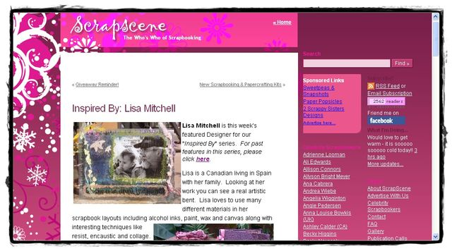 """Featured in """"ScrapScene: Inspired by"""" - August, 2008"""